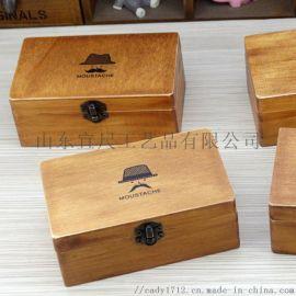 创意桌面实木收纳盒多功能木制铁扣文具盒盒