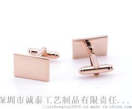 深圳金属袖扣,公司礼品袖扣,玫瑰金男士袖扣生产