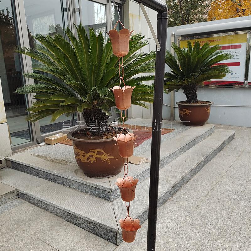 山東泰安市寺廟用排水鏈 純銅雨鏈固定方法