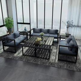 創意簡約酒店不鏽鋼沙發茶幾 戶外休閒防水不鏽鋼沙發