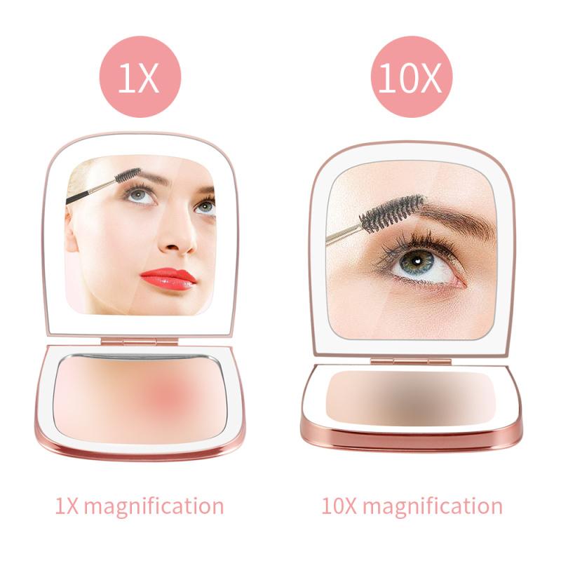LED双面口袋镜 迷你贝壳镜折叠化妆小镜子