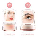 LED雙面口袋鏡 迷你貝殼鏡折疊化妝小鏡子
