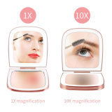 LED雙面口袋鏡 迷你貝殼鏡摺疊化妝小鏡子