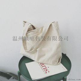 百搭大容量慵懒风单肩日系文艺帆布包批量生产可定制
