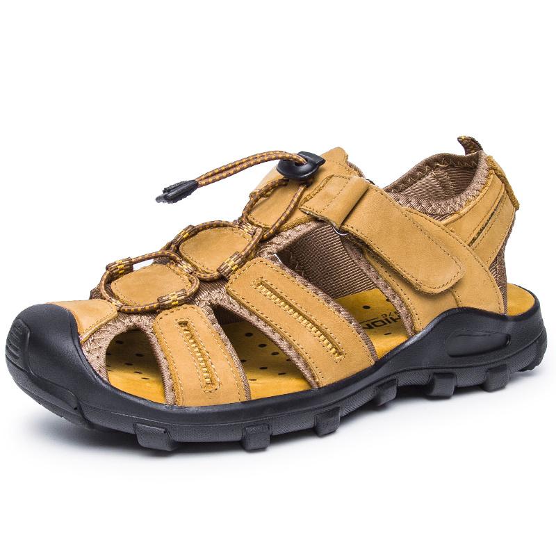 外貿男士真皮沙灘鞋涼鞋