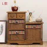 斜織邊布巧屜櫃 柳州木藤銅家具 百色雜物小件櫃