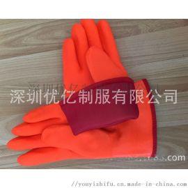 防寒手套批发保暖手套防水防寒保暖手套衬里可翻出PVC防酸碱手套