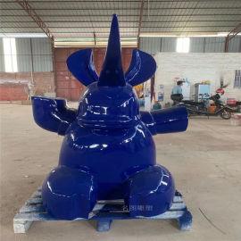 佛山玻璃钢动物造型玻璃钢犀牛雕塑乐园摆件