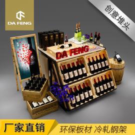 厂家直销红酒堆头架 环保免漆板铁艺方通货架 酒庄商行铁木展示架
