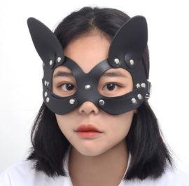 皮革男女用眼罩调情另类猫头女郎神秘面具化妆舞会面罩