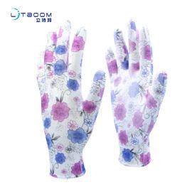 蓝紫碎花pu手套 13针pu手套劳保防护手套