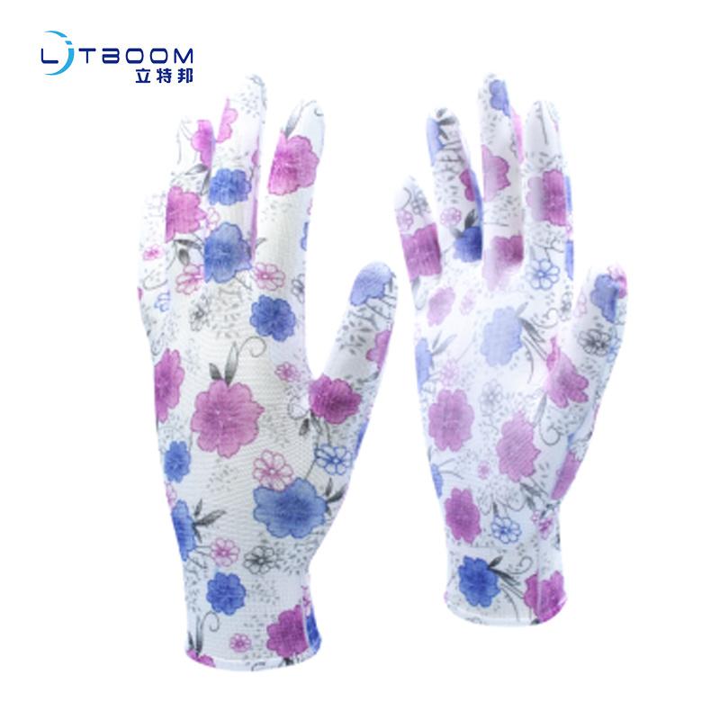 藍紫碎花pu手套 13針pu手套勞保防護手套