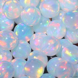 耐高溫球形無孔人造歐泊裸石 無樹脂澳寶珠子