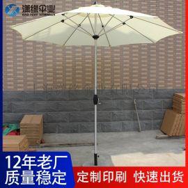 定制铝杆拉丝手摇遮阳伞、手摇中柱伞庭院休闲伞