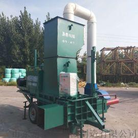 牛羊饲料青贮套袋压块机 自带称重秸秆液压打包机