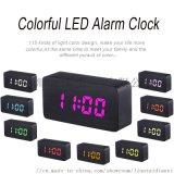 創意款手機充電七彩變色木頭鍾 溫度貪睡LED鬧鍾