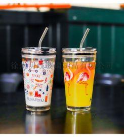 水杯网红吸管杯玻璃杯果汁杯刻度杯咖啡杯奶茶杯学生杯