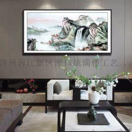 山水画中式装饰画 满楼艺术装饰画 靠山中堂画装饰画