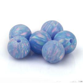 人造合成球形澳寶78色定制 OP06藍歐珀石散珠