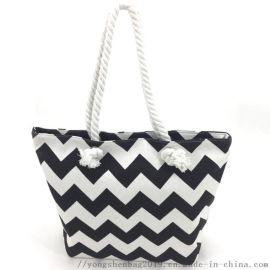 手提条纹印花帆布购物袋