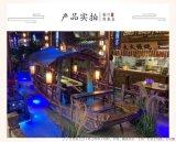 现货出售5米室内仿古餐饮船木船木质桂满陇水上船餐厅