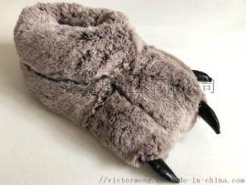动物玩具毛绒爪子拖鞋 定制童鞋拖鞋 冬季室内拖鞋