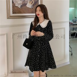 黑色碎花娃娃领长袖連衣裙新款女气质收腰A字裙