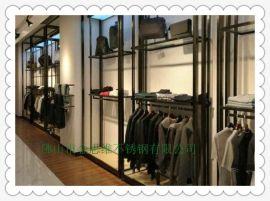 定制玫瑰金不锈钢展示架服装店展示架厂家直销