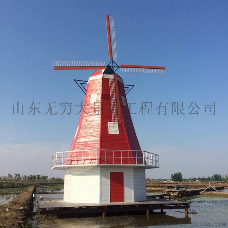 厂家直销大型户外防腐木荷兰景观风车