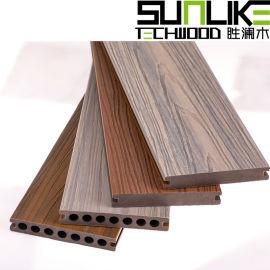 二代共挤塑木地板圆孔共挤塑木地板实心共挤木塑地板