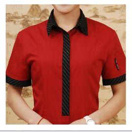 酒店服务员工作服夏装短袖 快餐店工作服定做 热销餐饮服务员制服