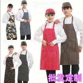 咖啡餐厅饭店酒吧厨师服务员围裙调节挂脖黑白条围裙