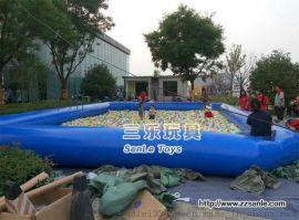 三樂廠家生產的充氣水池採用一等PVC布料定制的