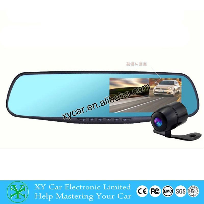 品牌源喜工厂批发 高清后视镜显示器4.3寸双路行车记录仪