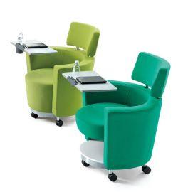 沙发带写字板 会议培训椅 带写字板沙发椅 单人位休闲沙发