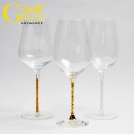 定制**无铅水晶带钻金箔纸透明高脚红酒杯葡萄酒杯
