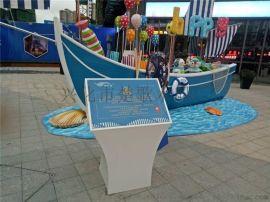 大型商场游乐船实木海盗船 手工定做厂家景观船