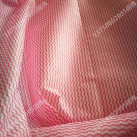 新价供应多规格艳红条纹水刺无纺布_定制多种擦拭水刺布生产厂家