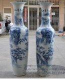 青花瓷陶瓷大花瓶-西安花瓶銷售-迎客松喬遷大花瓶銷售