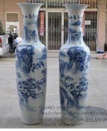 青花瓷陶瓷大花瓶-西安花瓶销售-迎客松乔迁大花瓶销售