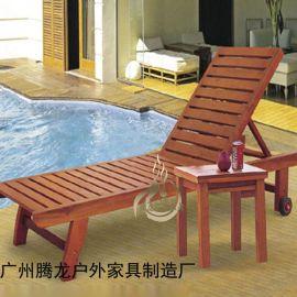 实木沙滩椅海边沙滩椅户外实木躺椅阳台午休椅泳池防腐躺椅折叠椅