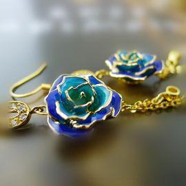 黛雅时尚烤漆湖蓝渐变色镀金玫瑰花镶钻耳环(款式十六)厂家批发