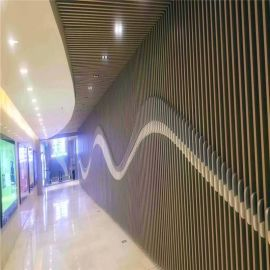 展览厅室内隔断铝吊顶 造型图案铝天花,铝通条形吊顶