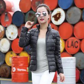 轻薄羽绒服厂家定做女短款立领连帽时尚韩版修身秋冬大码女装外套
