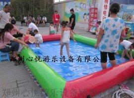 单层充气水池 郑州心悦儿童摸鱼池游泳池价格