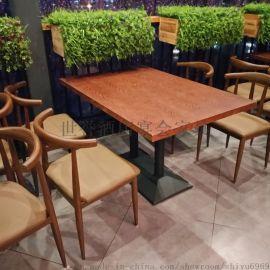 时尚餐厅实木餐桌椅 休闲餐厅主题餐厅复古休闲餐桌