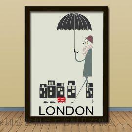 城市印象 小清新装饰画批发 客厅三组合巴黎伦敦纽约景 有框画