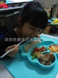 网上超市儿童餐具 吸附防摔吃饭餐盘饭菜分格餐盘 食品硅胶材质