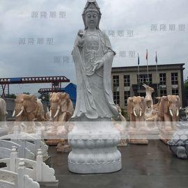 石雕三面观音像厂家 寺庙观音菩萨雕刻 白麻观音