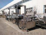 山東不鏽鋼全自動豬皮電加熱油水混合油炸設備